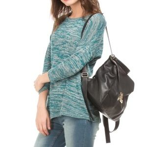 Tanjay Petite Heathered Green Blue 3/4 Sleeved Top